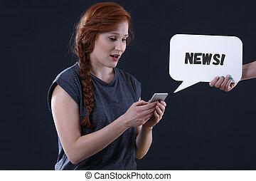 女, 点検, ニュース