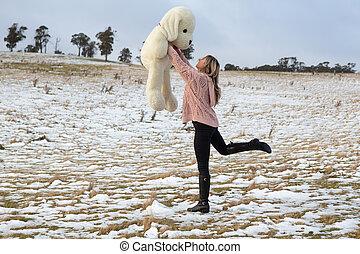 女, 熊, 雪, 戯れること, テディ