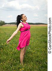 女, 牧草地, 妊娠した, deeply, 呼吸する, 無料で