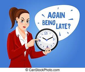 女, 特徴, clock.