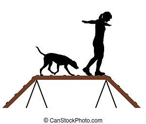 女, 犬, dogwalk