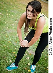 女, 痛み, 傷害, 後で, -, 膝, スポーツ