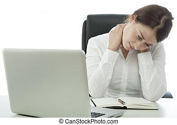 女, 痛み, 首, ビジネス, 若い, の後ろ, ブルネット, 持つ, コンピュータ