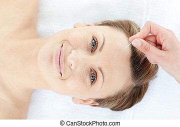 女, 療法, 肖像画, 朗らかである, 刺鍼術