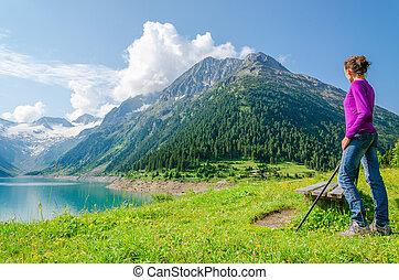 女, 登山家, 若い, 湖, ポーランド人, bymountain