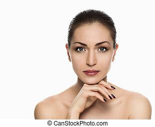 女, 皮膚, 完全, 美しい