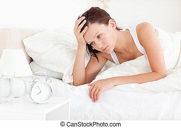 女, 目覚めること, red-haired, 疲れた