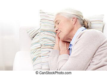 女, 睡眠, 家, シニア, 枕, 幸せ
