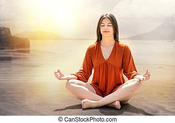 女, 瞑想する, 河岸, 若い