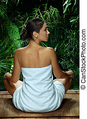 女, 瞑想する, 若い, すてきである, 光景