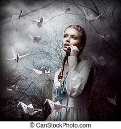 女, 神秘主義者, 飛行, 暗い, 森林, origami, 白, 白鳥, inspiration.