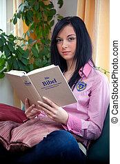 女, 神聖, 若い, 聖書, 読書, 宗教