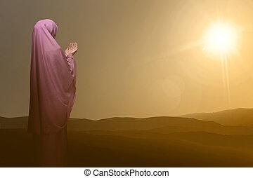 女, 神, muslim, 背中, アジア人, 祈ること, 光景