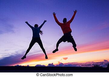 女, 空気, 跳躍, 日没, 楽しみ, 人, 持つこと, 幸せ