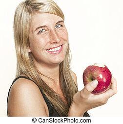 女, 笑い, アップル
