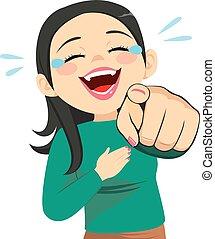 女, 笑い, 指を 指すこと