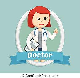 女, 紋章, 医者