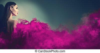 女, 紫色, ブルネット, スタジオ, 素晴らしい, ポーズを取る, モデル, 服