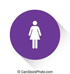 女, 紫色, -, 隔離された, 背景, 白, アイコン