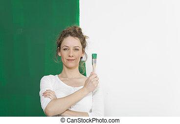 女, 緑, ブラシ