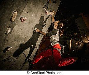 女, 練習する, ロッククライミング, 若い, 壁, 屋内, 岩