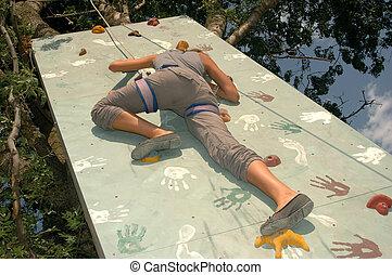 女, 練習する, ロッククライミング, 若い, 壁, 岩