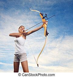 女, 練習する, 矢, 弓