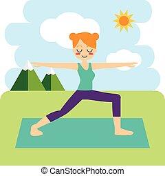 女, 練習する, illustration., yoga., asana, ベクトル, vrikshasana.