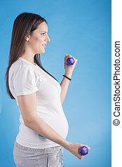 女, 練習, 妊娠した