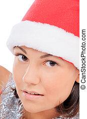女, 美しさ, の上, santa, 終わり, 帽子