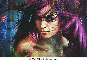 女, 美しさ, ダブル, 野生, 肖像画, さらされること