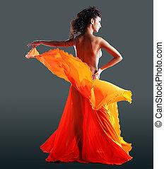 女, 美しさ, ダンス, 裸である, オレンジ, ベール