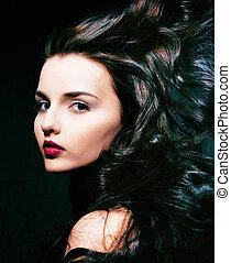 女, 美しさ, 巻き毛, 飛行, 若い, ブルネットの髪, 致命的, femme