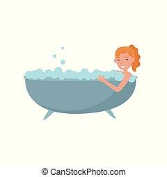 女, 美しさ, 泡, 取得, 若い, イラスト, 浴室, 浴槽, 待遇, ベクトル, 背景, 白, 彼女自身, 心配