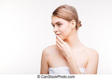 女, 美しさ, 皮膚, 若い, 新たに, 肖像画