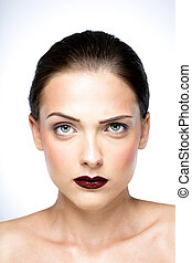 女, 美しさ, 皮膚, 若い, 新たに, 肖像画, 深刻