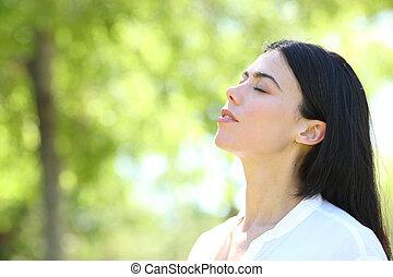 女, 美しさ, 空気, 呼吸, 森林, 新たに