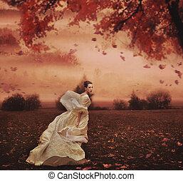 女, 美しさ, 自然, 上に, 若い, 背景