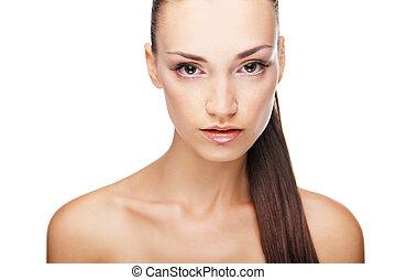 女, 美しさ, 顔, きれいにしなさい, 皮膚, 新たに