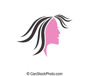 女, 美しさ, 顔, デザイン, テンプレート, ロゴ, エステ
