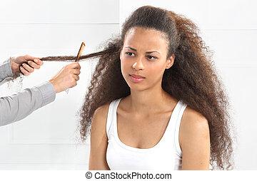 女, 美容師, アフリカ