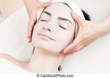 女, 美容院, 若い, 顔のマッサージ