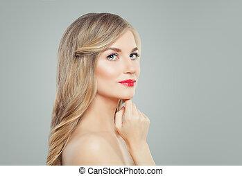 女, 美顔術, ゆとり, 美容術, 若い, makeup., 待遇, 概念, 長い間, 唇, 皮膚, ブロンド, haircare, 赤い髪