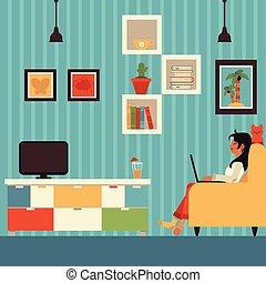 女, 肘掛け椅子, フリー, 仕事, ベクトル, 家