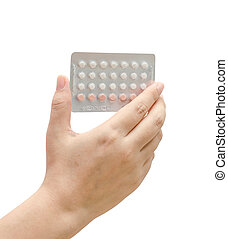 女, 背景, に対して, 手, 避妊薬, 保有物, 白
