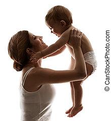 女, 背景, 家族, 子供, 上に, お母さん, 母, 白, 子供, 赤ん坊, 幸せ