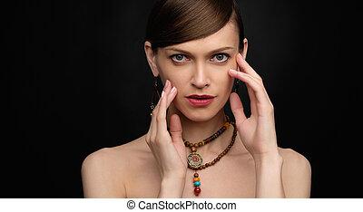 女, 背景, 美しさ, 上に, 黒, かなり, 肖像画