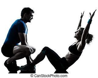 女, 腹部, 試し, 運動, フィットネス, 人