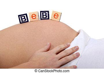 女, 腹, 妊娠した