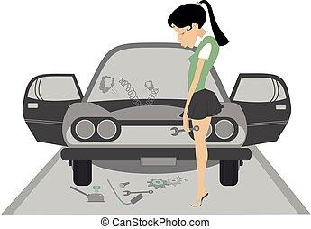 女, 自動車, 若い, イラスト, 悲しい, 壊される